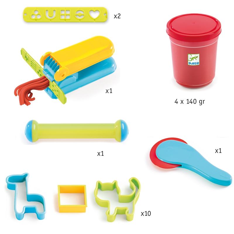 Gyurmaformázó készlet - Introduction to dough 4 tubs and 21 tools - 1