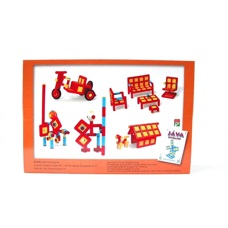 Építőjáték  - Jáva 5. építő (386 elem) piros színekkel - 1