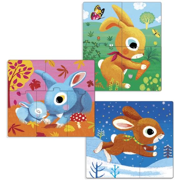 Primo puzzle -  Nyuszik - Rabbits - 1