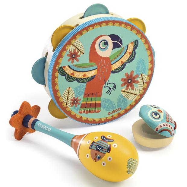Játékhangszer készlet - Tambourine, maracas, castanet - 0