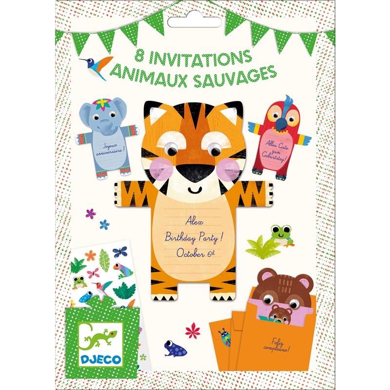 Parti játék -Meghívókártyák - Wild animals invitation cards - 0